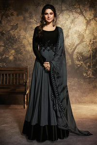 BLACK AND GRAY SILK AND GEORGETTE EMBROIDERED ANARKALI STYLE GOWN