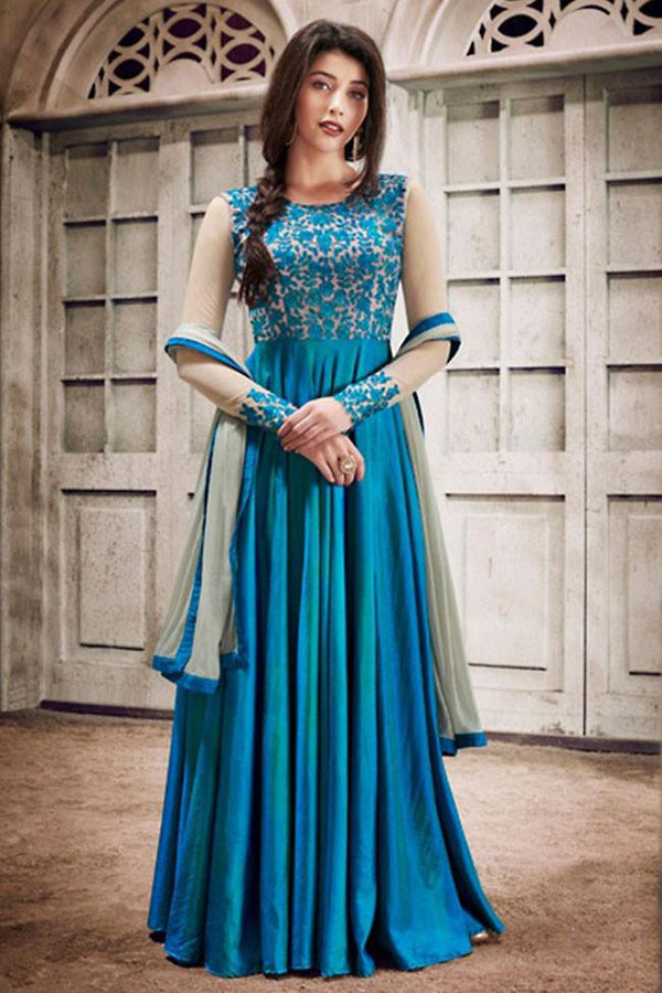 Buy Nairaa Blue Handloom Silk Embroidered Round Neck Gown Style Suit ...