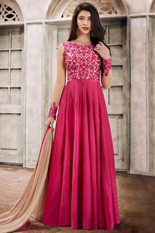 Buy Nairaa Pink Handloom Silk Embroidered Round Neck Gown Style Suit ...