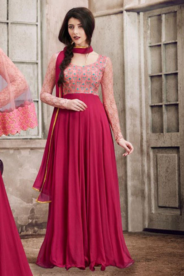 Buy Nairaa Maroon Georgette Embroidered U Neck Gown Style Suit With ...