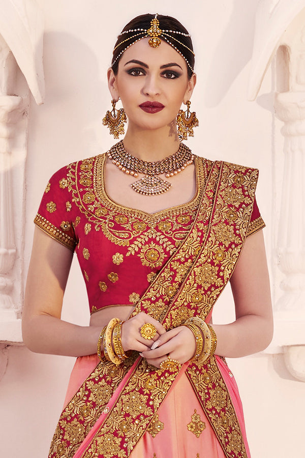 BEAUTEOUS DARK PINK AND PINK EMBROIDERED LEHENGA CHOLI