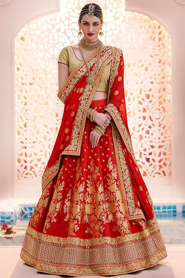 STUPENDOUS BEIGE AND RED EMBROIDERED LEHENGA CHOLI