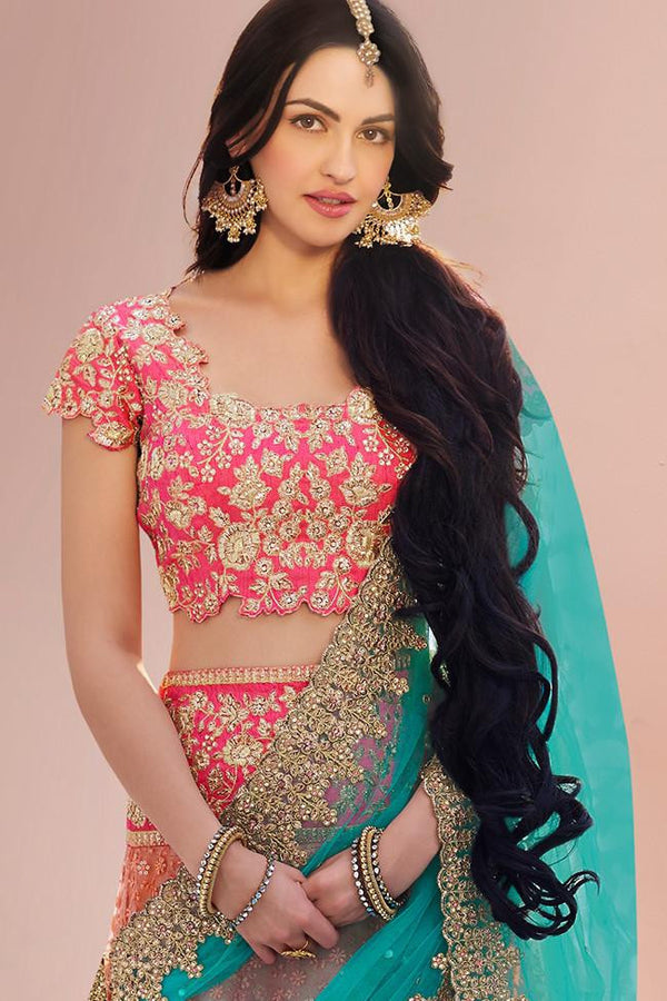 STUNNING PEACH AND LIRIL BLUE & GREEN EMBROIDERED LEHENGA CHOLI
