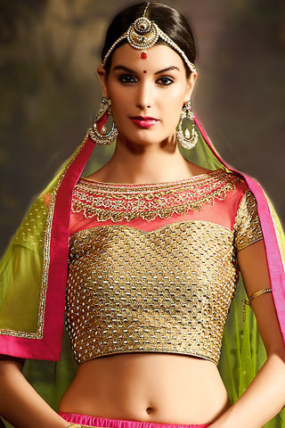 Gorgeous Pink Silk Embroidered Lehenga With Embroidered Beige Round Neck Choli