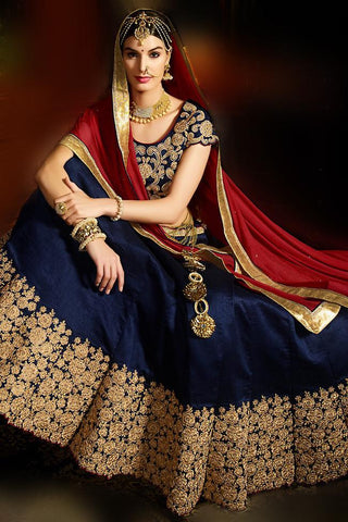 Stupendous Blue Silk Embroidered Lehenga With Embroidered Matching U Neck Choli
