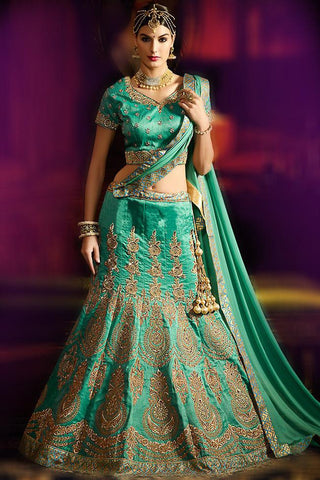 Stupendous Green Silk Embroidered Lehenga With Embroidered Matching V Neck Choli