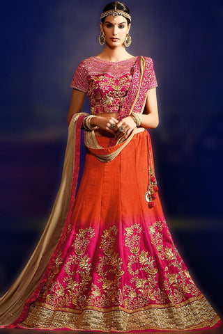 Stunning Pink Silk Embroidered Lehenga With Embroidered Matching V Neck Choli