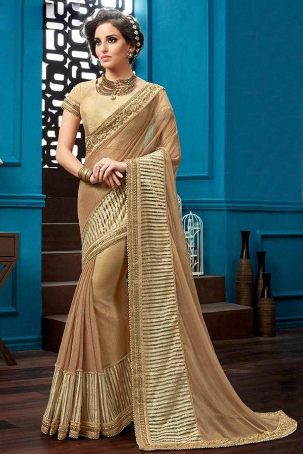 Nyssa Brown And Golden Color Knitted Net Embroidered Saree