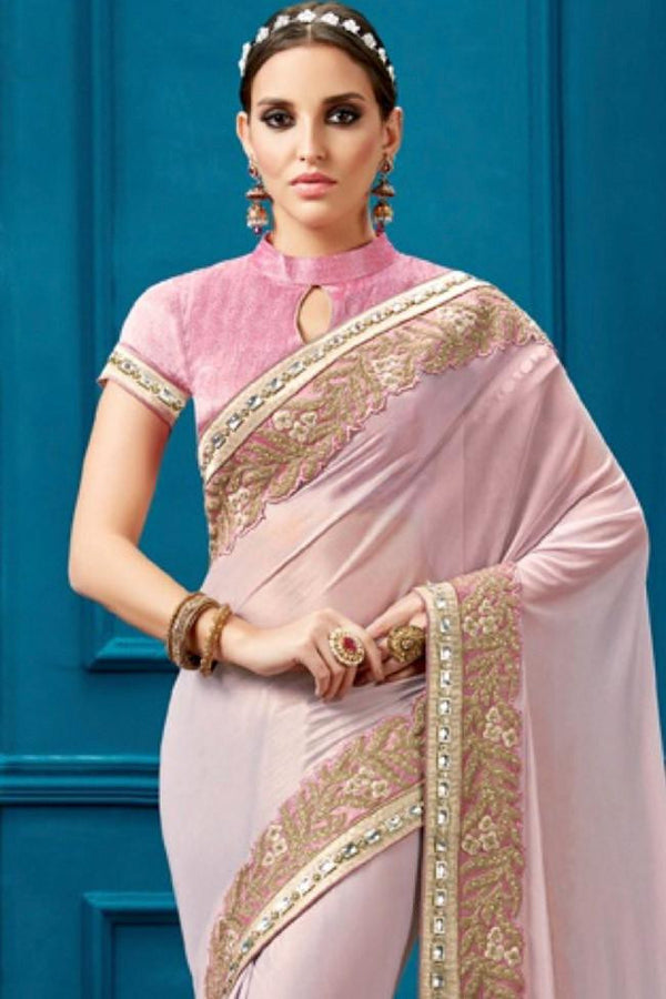 Nyssa Misty Rose And Pink Color Knitted Georgette Embroidered Saree
