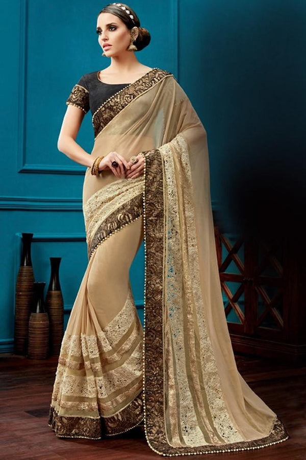 Nyssa Brown And Dim Grey Color Knitted Net Embroidered Saree
