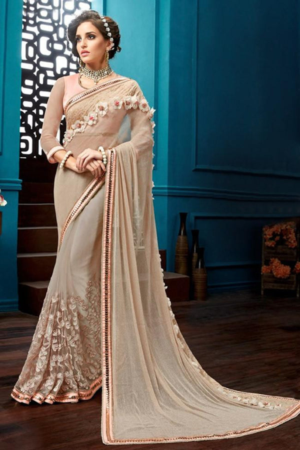 Nyssa Papayawhip Color Knitted Net Embroidered Saree