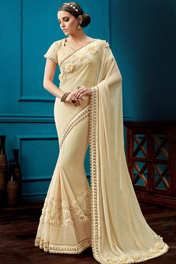 Nyssa Navajowhite Color Knitted Net Embroidered Saree