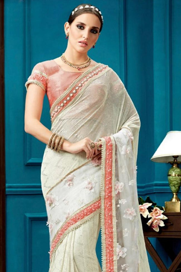 Nyssa White And Tomato Color Fancy Knit Embroidered Saree