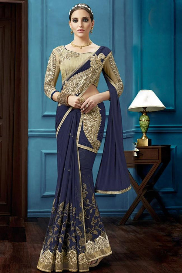 Nyssa Blue And Golden Color Net Embroidered Saree