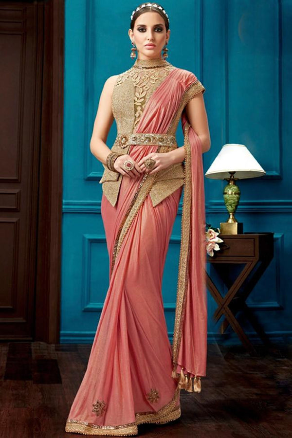 Nyssa Salmon And Beige Color Knitted Georgette Embroidered Saree