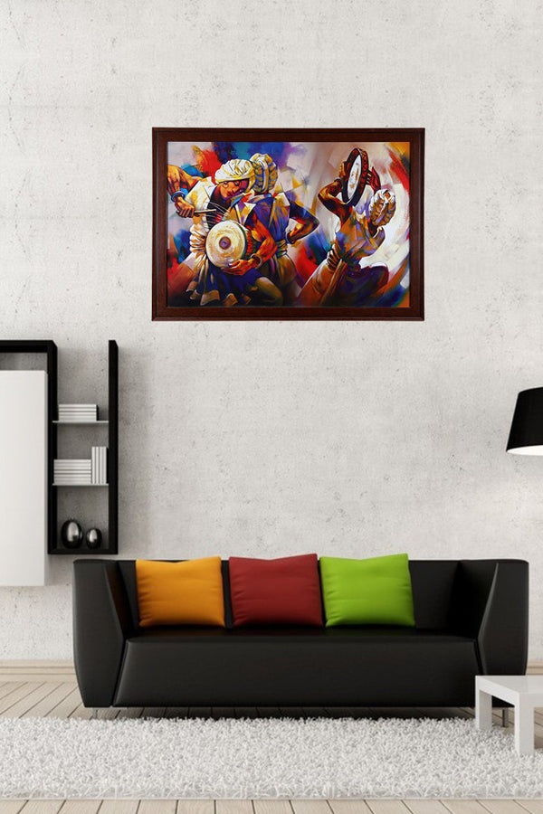 Colorful Painting Of Men With Turban Playing Drums