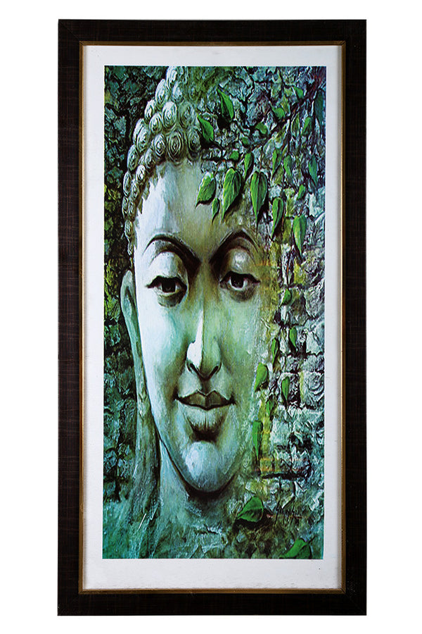 Divine Light Digital Painting In Green Of Lord Buddha