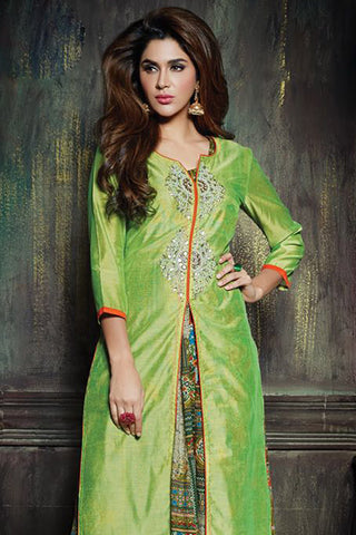 Beautiful Green Color Chanderi Embroidered V Neck Straight Cut Suit With Palazzo