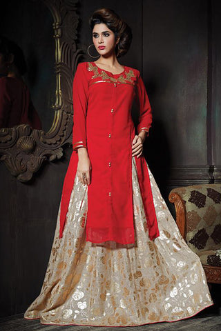 Gorgeous Red Color Georgette Embroidered Round Neck Straight Cut Suit With Skirt