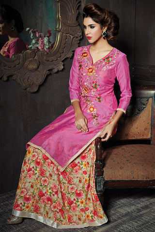 Attractive Pink Color Chanderi Embroidered V Neck Straight Cut Suit With Skirt