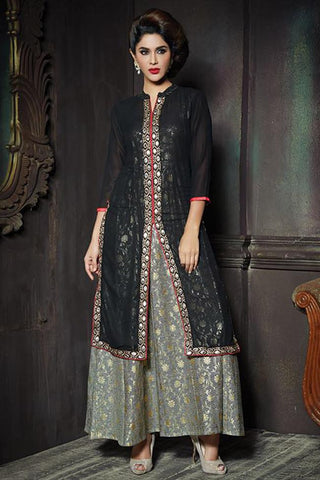 Magnificent Black Color Georgette Embroidered V Neck Straight Cut Suit With Skirt