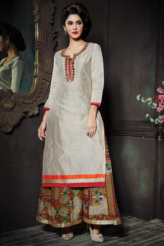 Impressive Beige Color Chanderi Embroidered U Neck Straight Cut Suit With Palazzo
