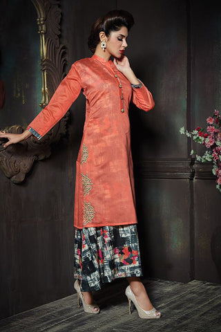 Beauteous Orange Color Chanderi Embroidered Chinese Collor Straight Cut Suit With Skirt
