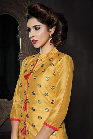 Smashing Yellow Color Chanderi Embroidered Chinese Collor Straight Cut Suit With Skirt