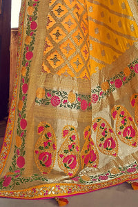 Mustard Yellow Color Pure Modal Silk Embroidered Party Wear Designer Saree By Tathastu