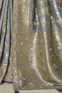 Silver Grey Color Pure Modal Silk Embroidered Party Wear Designer Saree By Tathastu