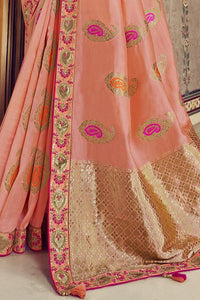 Peach Color Pure Modal Silk Embroidered Party Wear Designer Saree By Tathastu