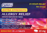 Option+ Allergy Relief Extra Strength 10mg Extra 20+4 BNS