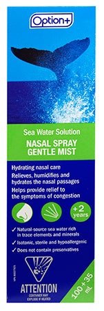 Option+ Nasal Spray Sea Water Gentle Mist 135ml