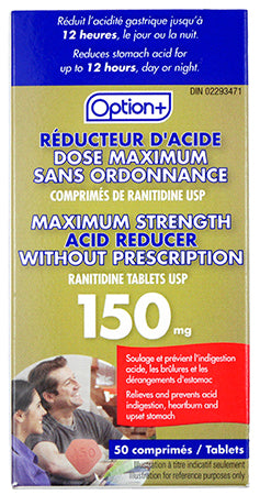 Option+ Acid Reducer Ranitidine Maximum Strength 150mg