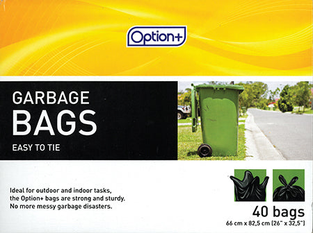 Option+ Black Garbage Bags (40)