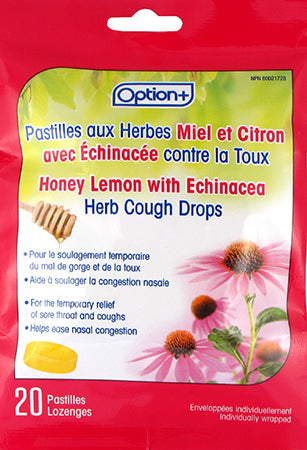 Option+ Cough Lozenges Echinacea Honey Lemon