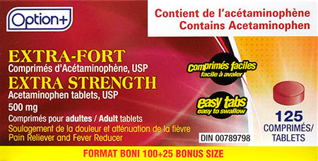Option+ Acetaminophen Extra Strength 500mg (125) Tablets