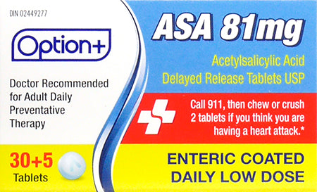 Option+ ASA 81mg Enteric Coated Daily Low Dose