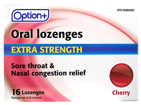 Option+ Oral Lozenges Extra Strength Cherry (16)