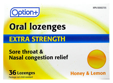 Option+ Oral Lozenges Extra Strength Honey & Lemon (36)