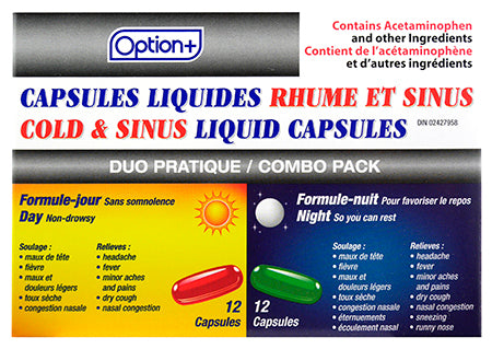 Option+ Cold & Sinus Day/Night Liquid (24) Capsules
