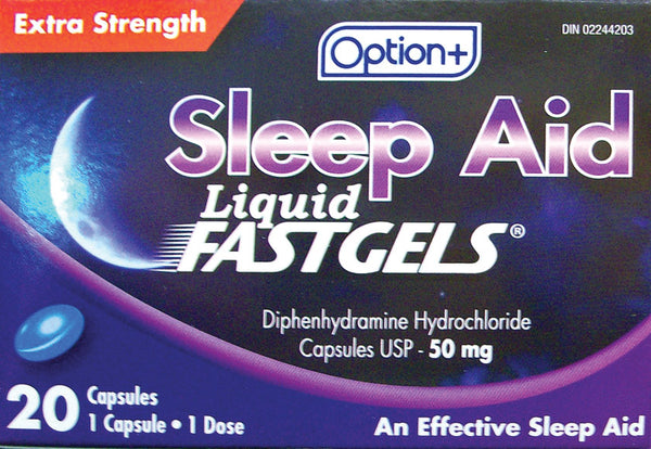Option+ Sleep-Aid FastGels Extra Strength 50mg (20) Capsules