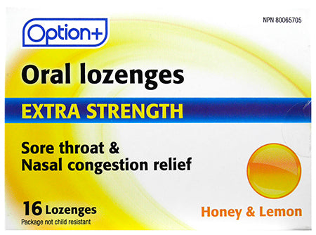 Option+ Oral Lozenges Extra Strength Honey & Lemon (16)