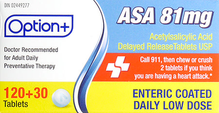 Option+ ASA 81mg Low Dose Tablets