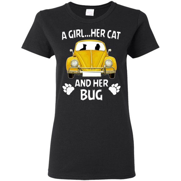 A girl...her cat and her bug t-shirt, vw beetle