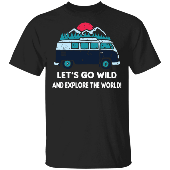 Let's Go Wild And Explore The World-Volkswagen Beetle Bus T-shirt