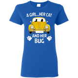A girl...her cat and her bug-volkswagen beetle t-shirt