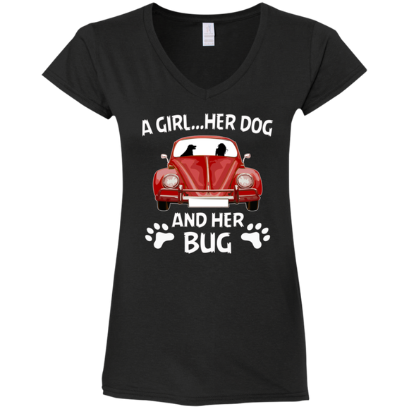 A girl her dog and her bug t-shirt