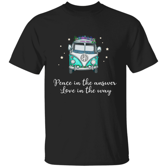 Peace In The Answer Love In The Way-Volkswagen Beetle Bus T-shirt