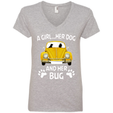 A girl her dog and her bug volkswagen beetle t-shirt